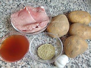 Muschi de porc felii cu cartofi si rozmarin la cuptor ingrediente