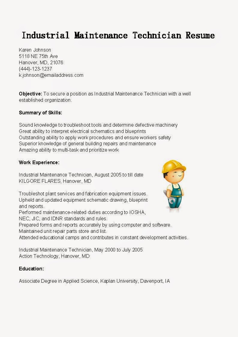 resume sles industrial maintenance technician resume