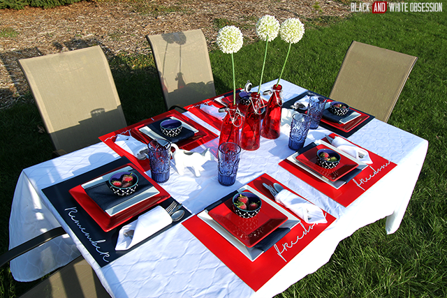 Less is More: Red, White, and Blue Patriotic Tablescape perfect for Memorial Day, Independence Day, or Veteran's Day | www.blackandwhiteobsession.com