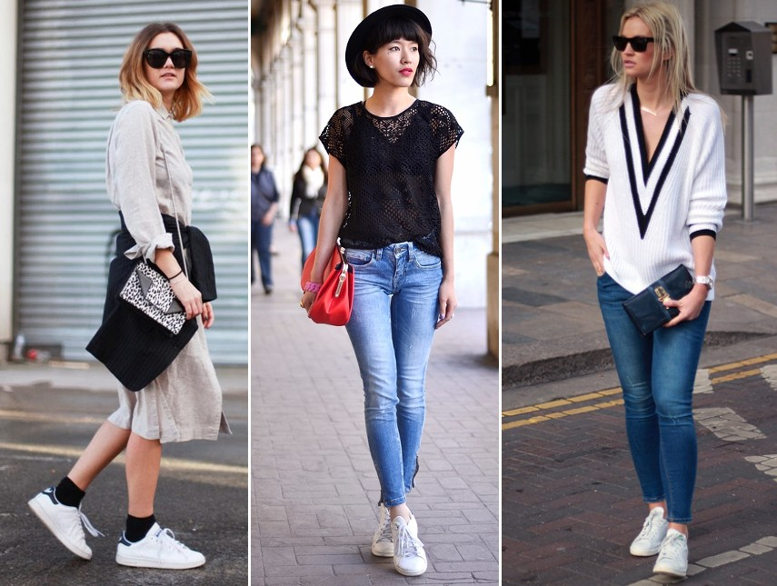 white sneakers trainers outfits street style