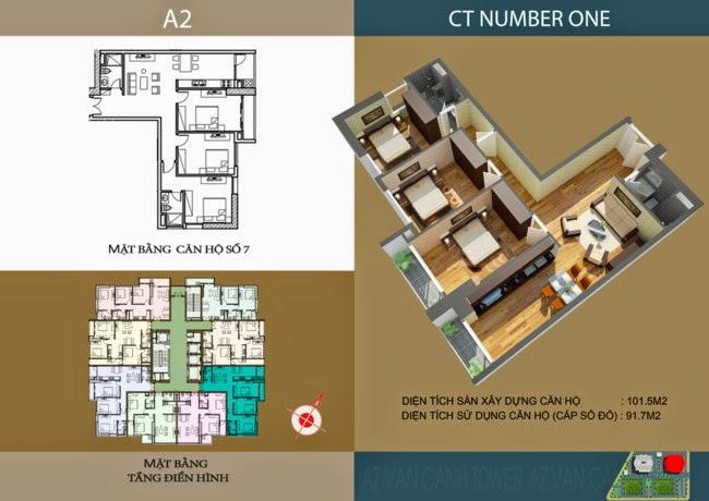 thiết kế chi tiết căn hộ số 7 - 91,7 m2 dự án ct number one