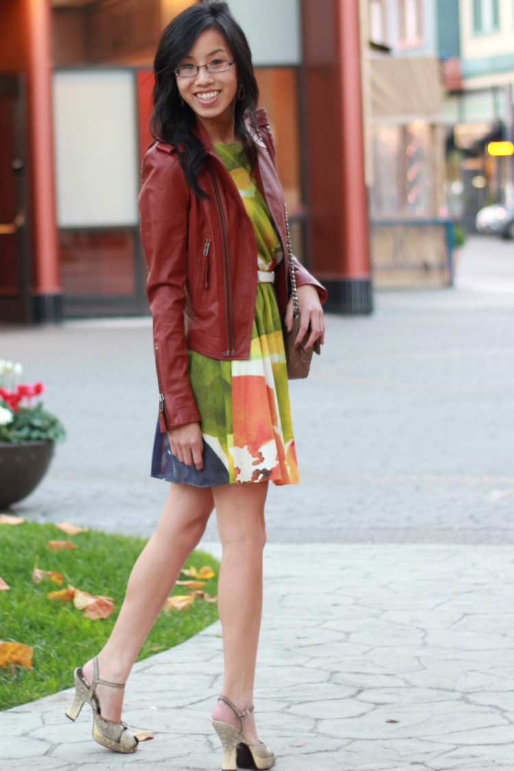 alice and olivia dress joie red leather jacket chanel taupe flap