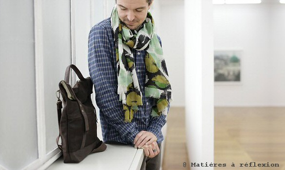 Ma poésie foulard Homme en soie kaki