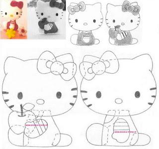 Moldes para feltro da Hello Kitty