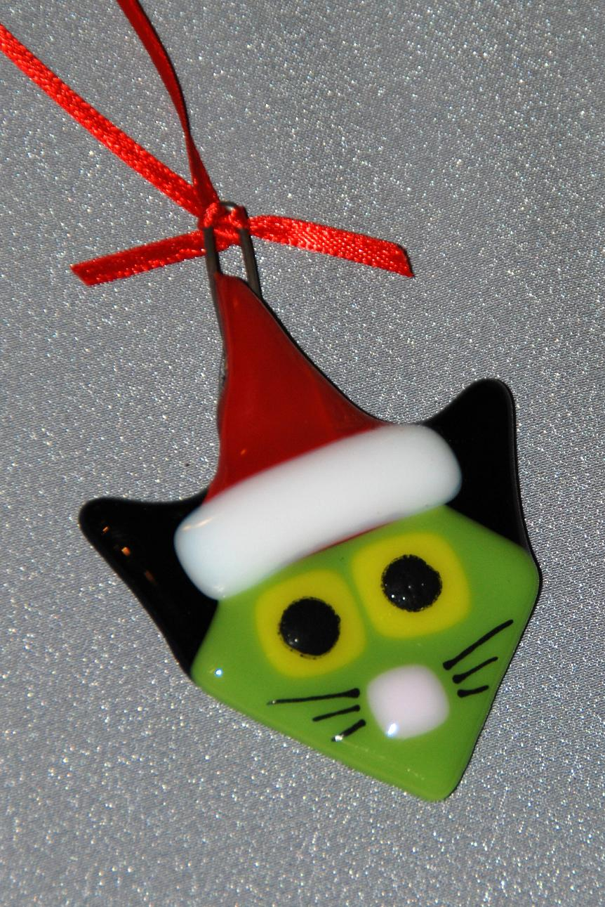 Glass cat ornaments - Buy Yours Today On Our Etsy Site Https Www Etsy Com Listing 86476487 Santa Cat Ornament Fused Glass