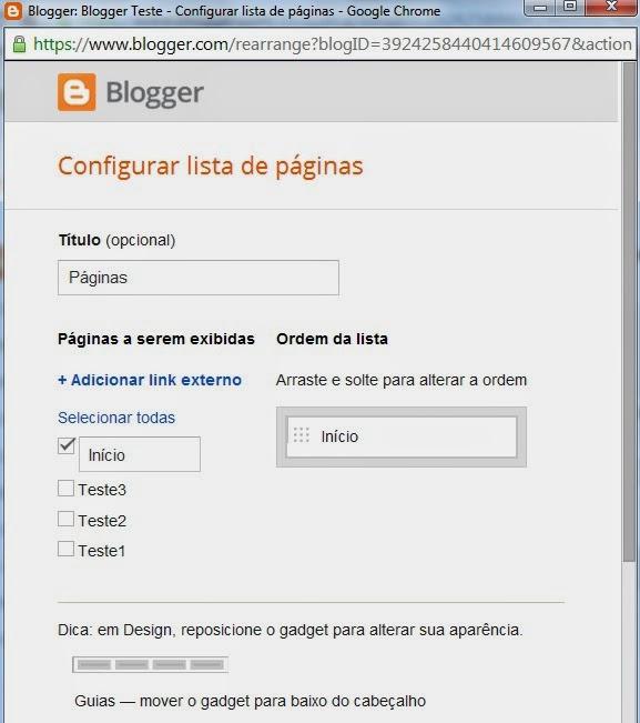 Editar o Gadget Paginas do Blogger