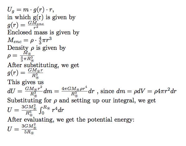 Gravitational Energy Equation We begin with our formula for Gravitational Potential Energy Formula