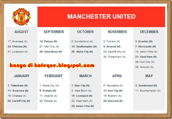 jadual perlawanan epl manchester united musim 2013 2014, jadual penuh perlawanan epl man utd musim 2013 2013