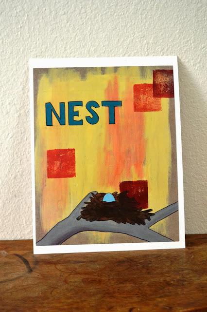 nest nursery decor handpainted print