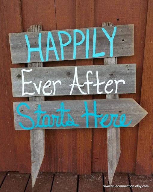rustic teal and white wedding sign