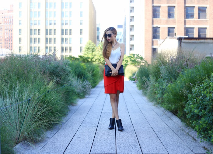 asos cami, just fab qulited moto jacket, justfab brian bag, just fab ankle booties, chanel necklace, pointy toe ankle booties, karen walker sunglasses, draped skirt, highline new york, street style, fashion blog, fall fashion, fall outfits
