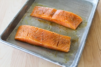 Grilled Salmon with a glaze of sugar-free maple syrup, Sriracha, and lime juice.  [found on KalynsKitchen.com]