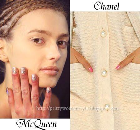 Къс маникюр с брокат на Alexander McQueen и розов маникюр на Chanel