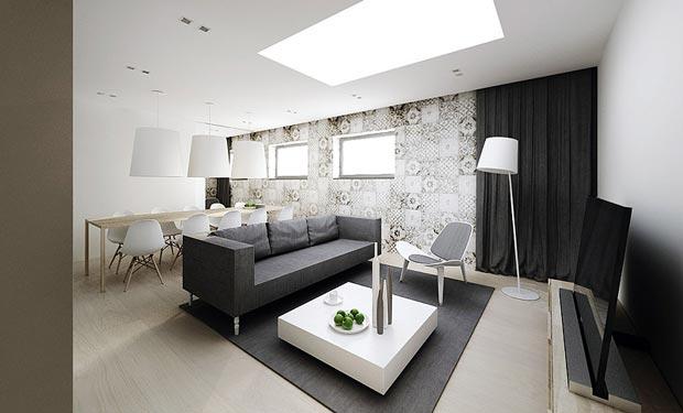 Moderno Diseño Interior Minimalista Plano