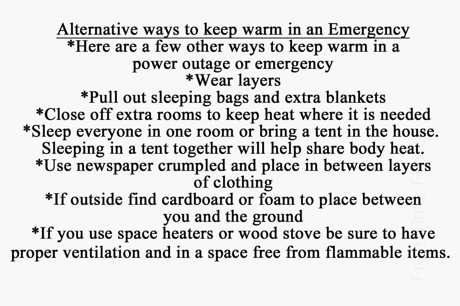 www.freetimefrolics.com Alternative ways to keep warm in an emergency or power outage #preparedness