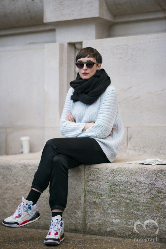 woman at Grand Palais during Paris Fashion Week 2014 Fall Winter PFW