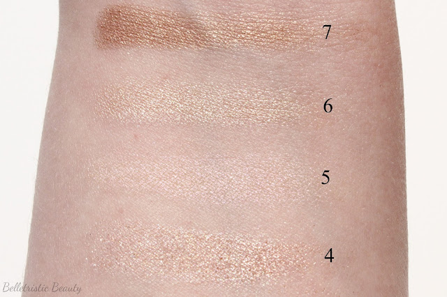 Marc Jacobs The Lolita 206 Style Eye-Con No.7 Swatches, Shades 4-7 in outdoor lighting
