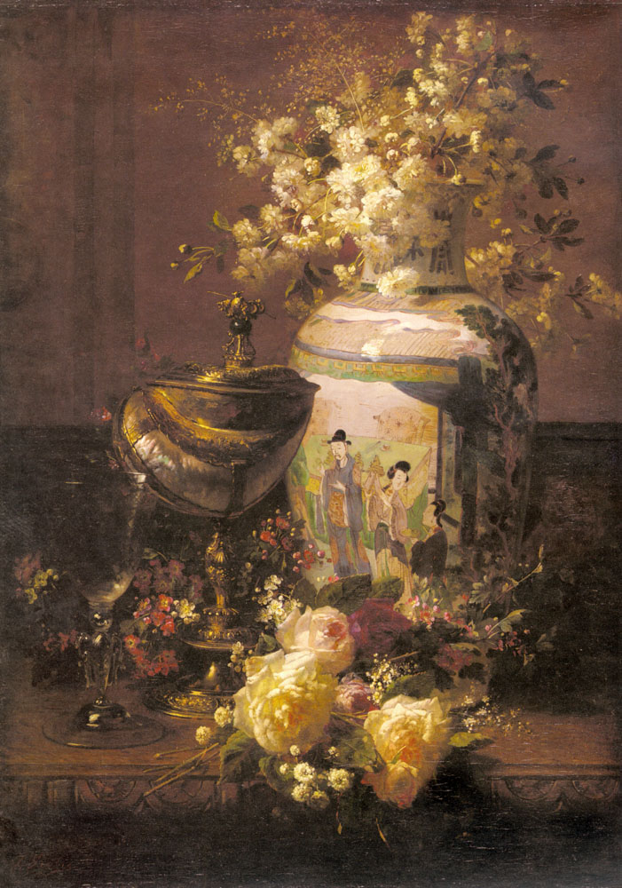 Jean Baptiste Robie  Jean+Baptiste+Robie+-+Still+Life+With+Japanese+Vase+And+Flowers