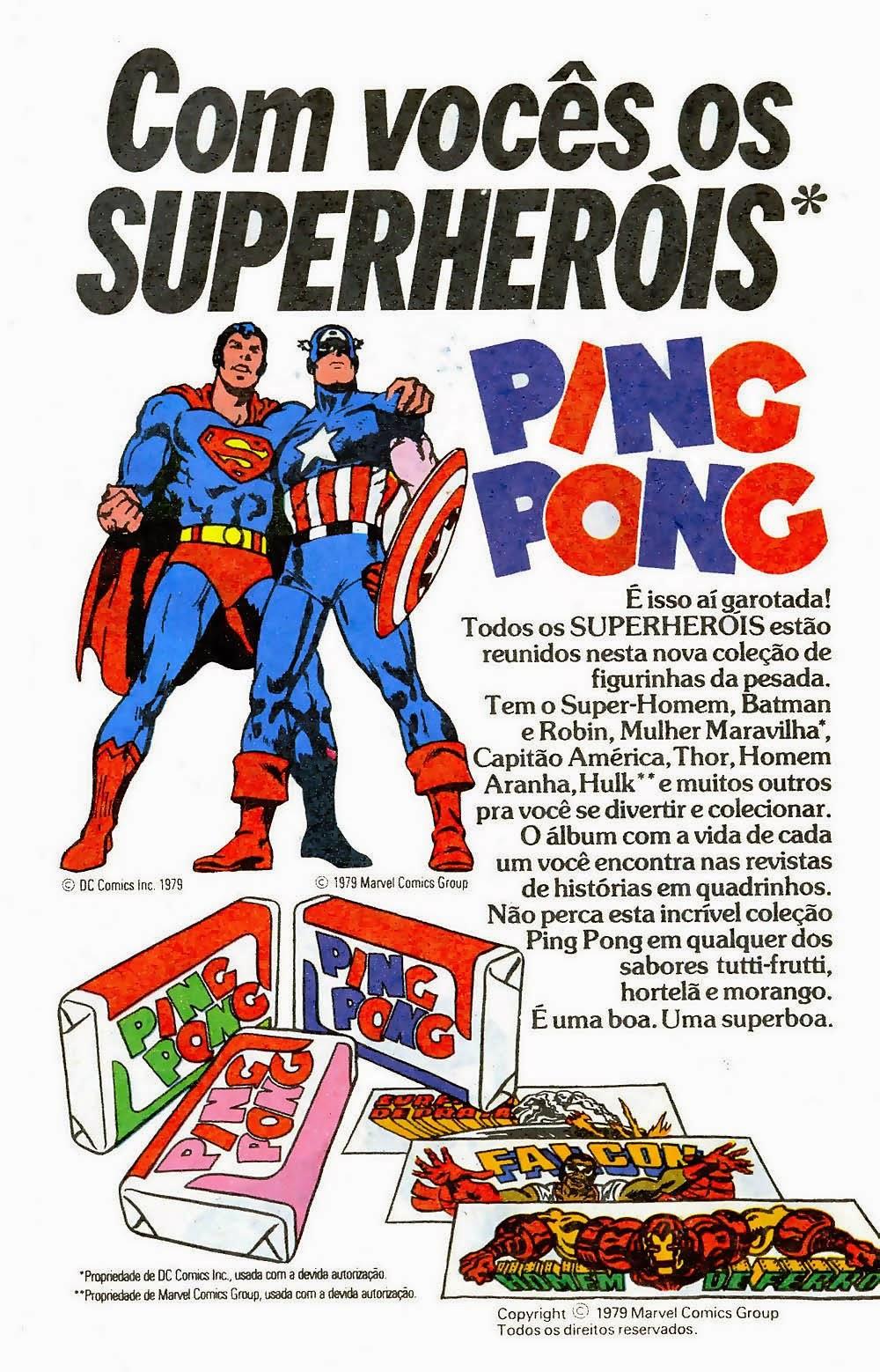 Propaganda do chiclete Ping-Pong com série de super-herois.