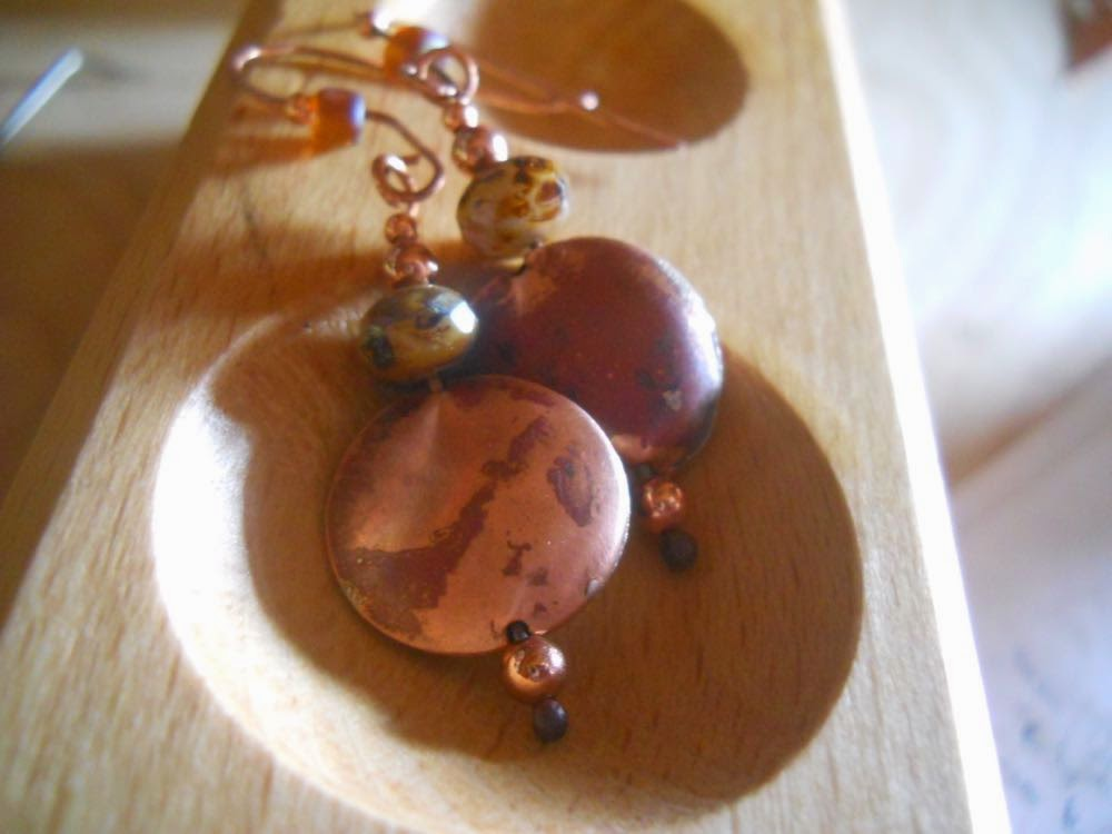 hand crafted hollow bead earrings by wind dancer studios on Etsy, ear wire tutorial