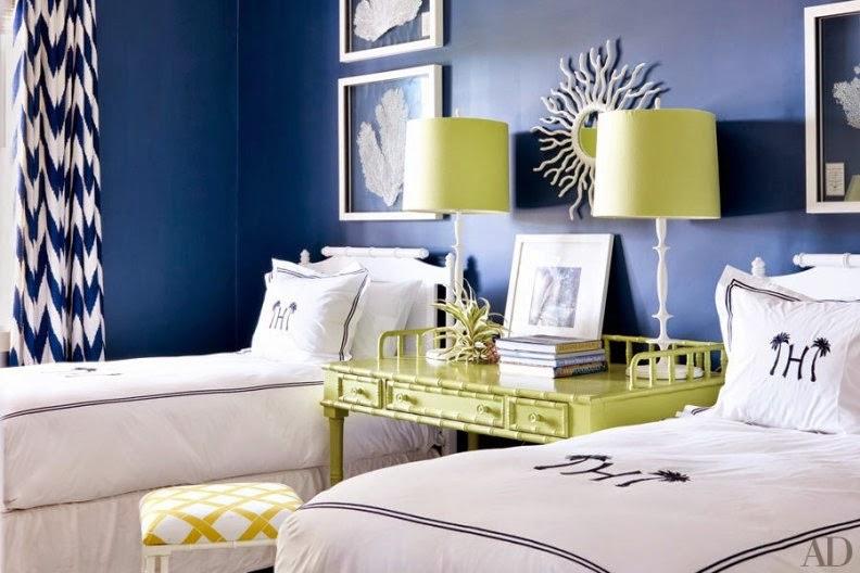 dormitorio en azul y verde lima