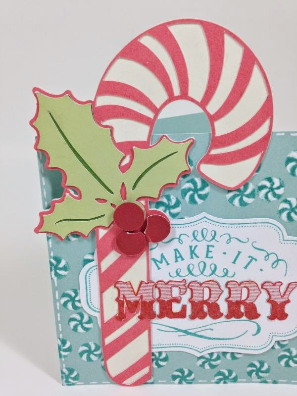 Make It Merry Candy Cane card closeup