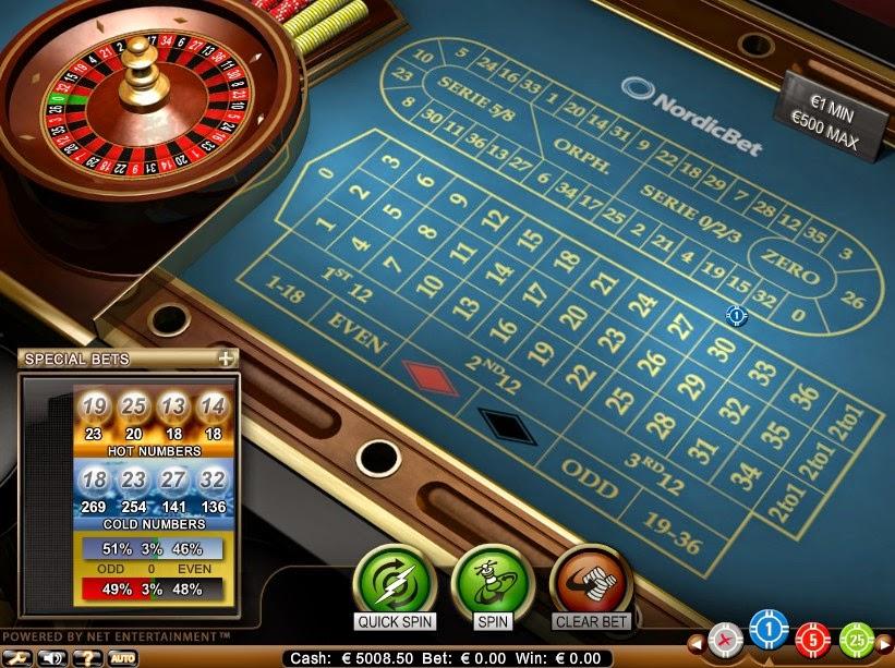 NordicBet Roulette Screen