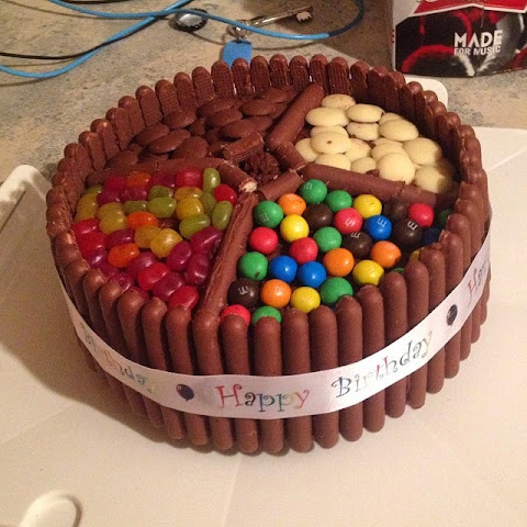 Smarties cake with chocolate fingers