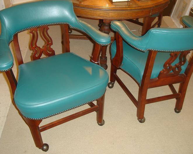 Michael Thomas Set Of 4 Kimball Furniture Mahogany Upholstered Chairs