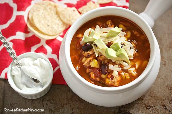 Skinny taco soup is healthy and really easy to make