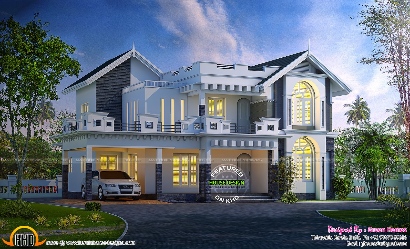 Awesome Western Model House Plan Kerala Home Design And