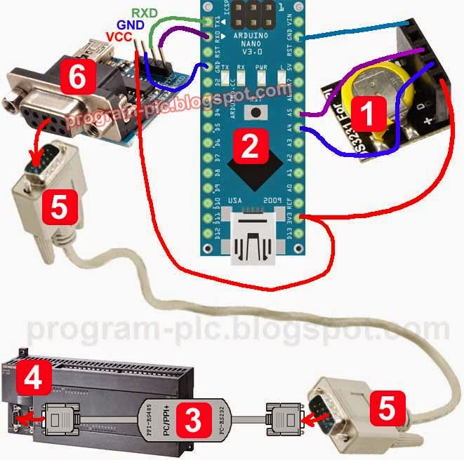 Wiring of PLC Real Time Clock Using Arduino