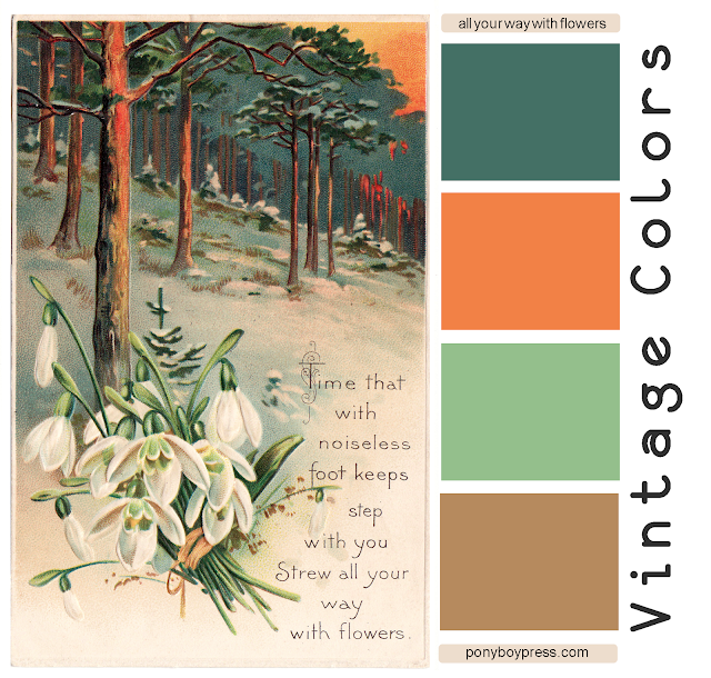 Vintage Color Palettes - All Your Way with Flowers - dark teal, orange, green, taupe