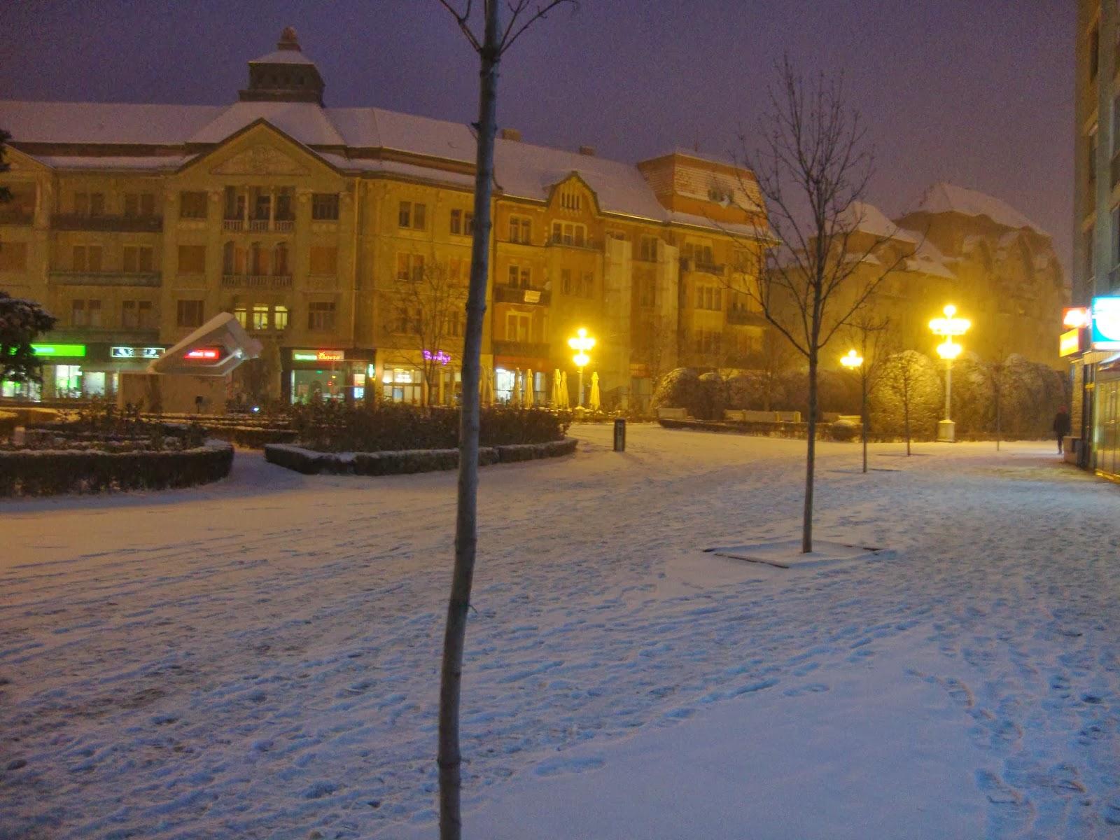 Timisoara iarna  - Piata Victoriei