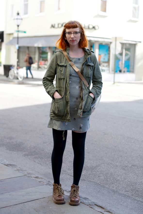 red head, street style charleston king street green military jacket black stockings dr. martins betty bangs