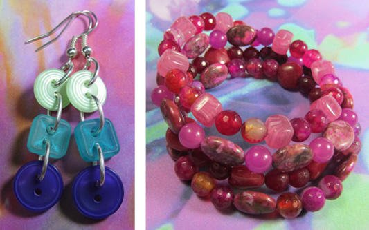 Drop dangle earrings with 3 buttons connected in long strand and cute beaded wrap bracelet with semi precious beads