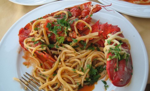 Lobster Pasta with Peppery Sauce and Cilantro