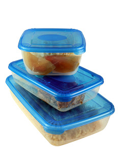 three food containers with leftover food