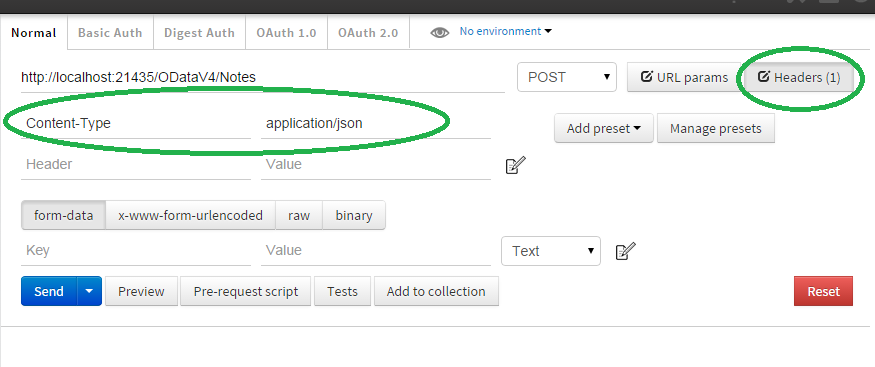 How to send an HTTP POST Request to a RESTful ODataController Web API Service using Postman  8