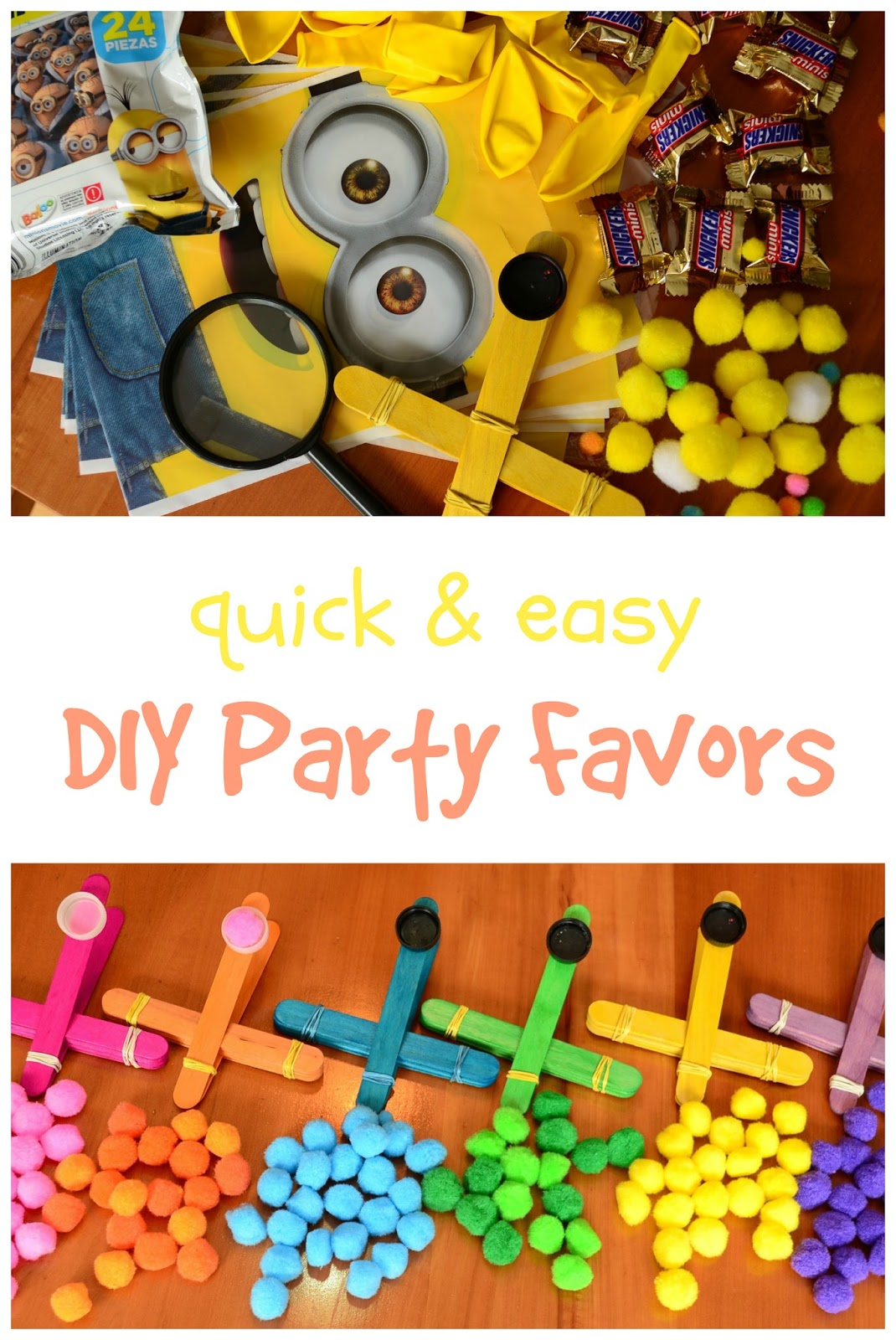 DIY Party Favors (with Pom Pom Catapult) your kids will go nuts over these! #LaughLearnLinkup