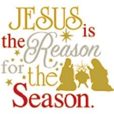 Beautiful photo of Jesus is the reason for the season lettering and child Jesus born in the manger with Christ parents mother Mary and Joseph clip art photo