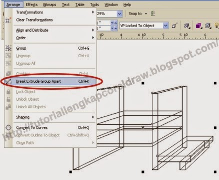 Mengenal Fungsi Extrude pada CorelDraw, www.tutoriallengkapcoreldraw.blogspot.com