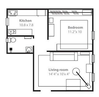 plano apartamento pequeño cálido y acogedor