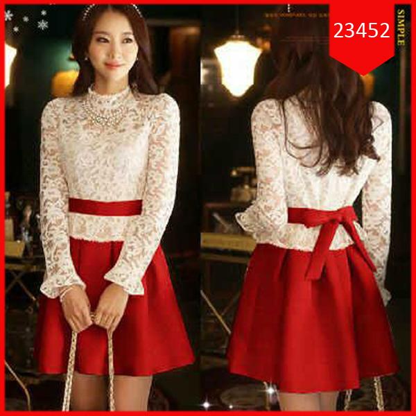 Busana: Dress Red Brukat (BBB-059)