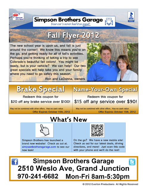 Simpson Brothers Garage Auto Repair Flyer Coupon