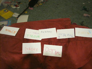 "Flashcards with ""names"" written by a four-year-old."