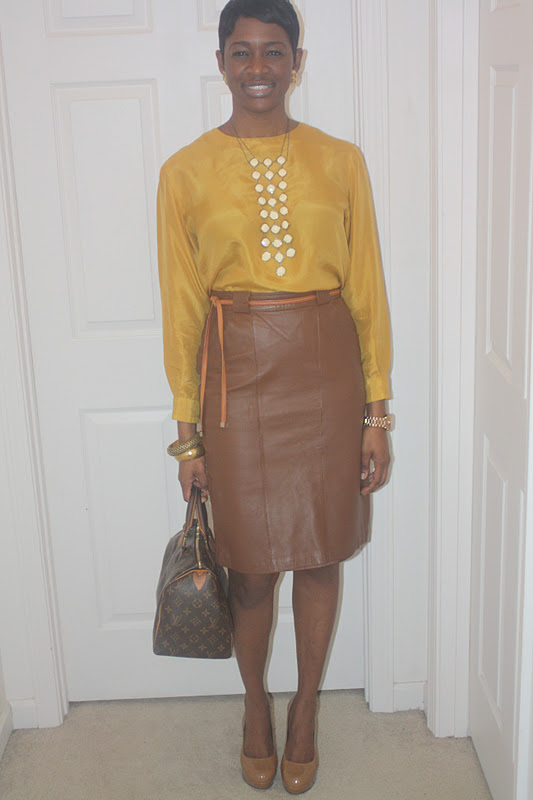 Two Stylish Kays: Thrifted Trends: Cognac Leather Skirt
