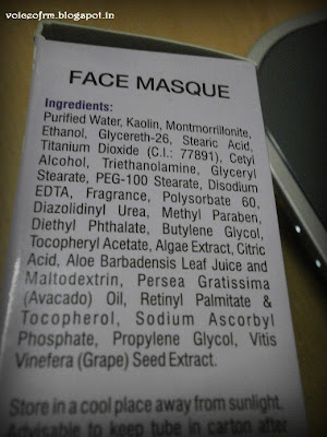 Amway Attitude Face Masque Ingredients