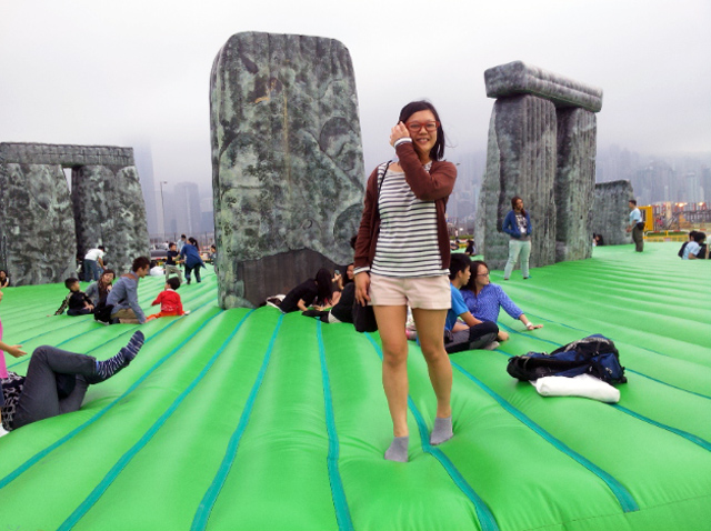 Sacrilege inflatable Stonehenge sculpture art bouncy castle