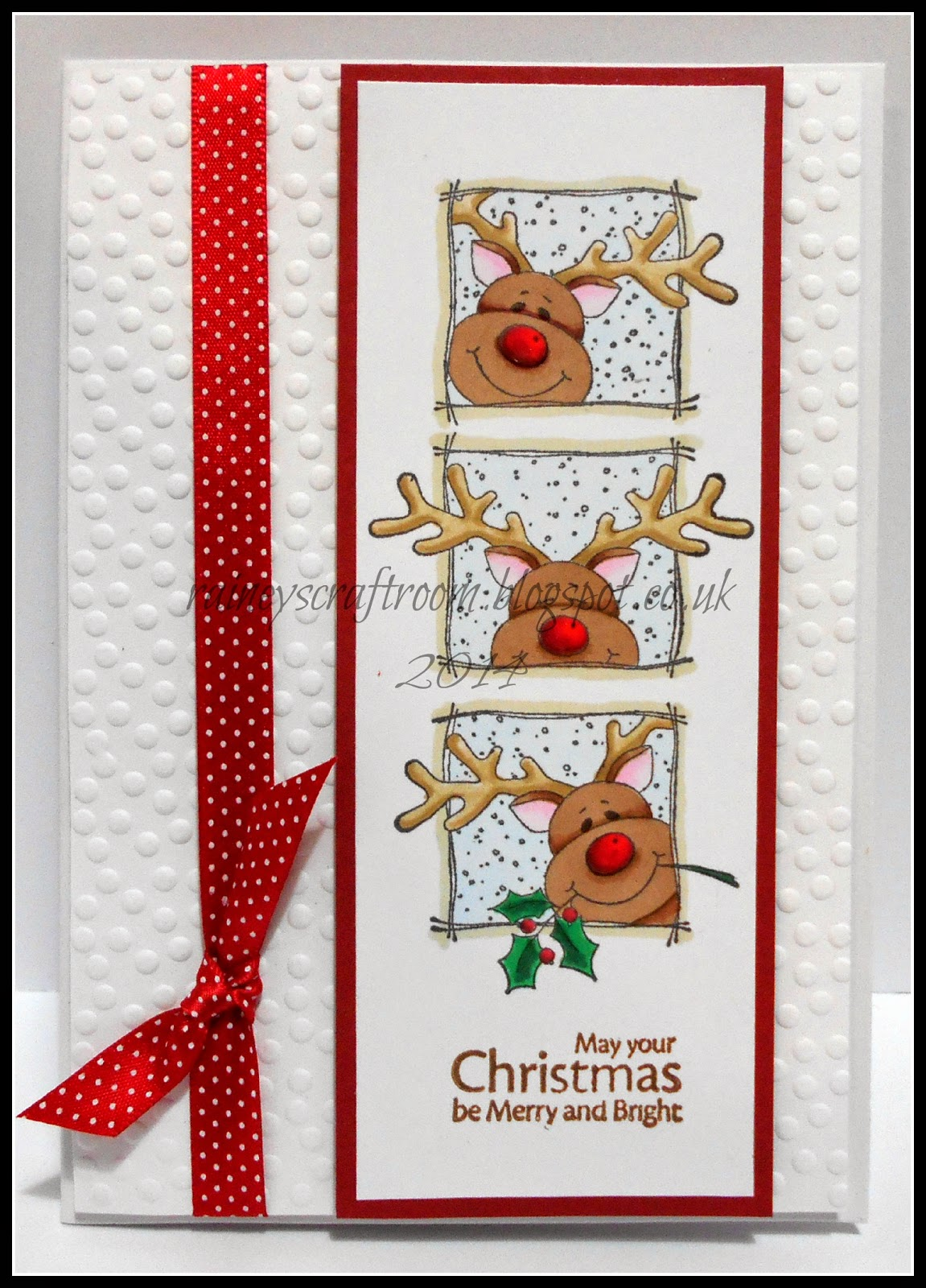 Rainey 39 s craft room christmas card club challenge 22 for Reindeer christmas card craft